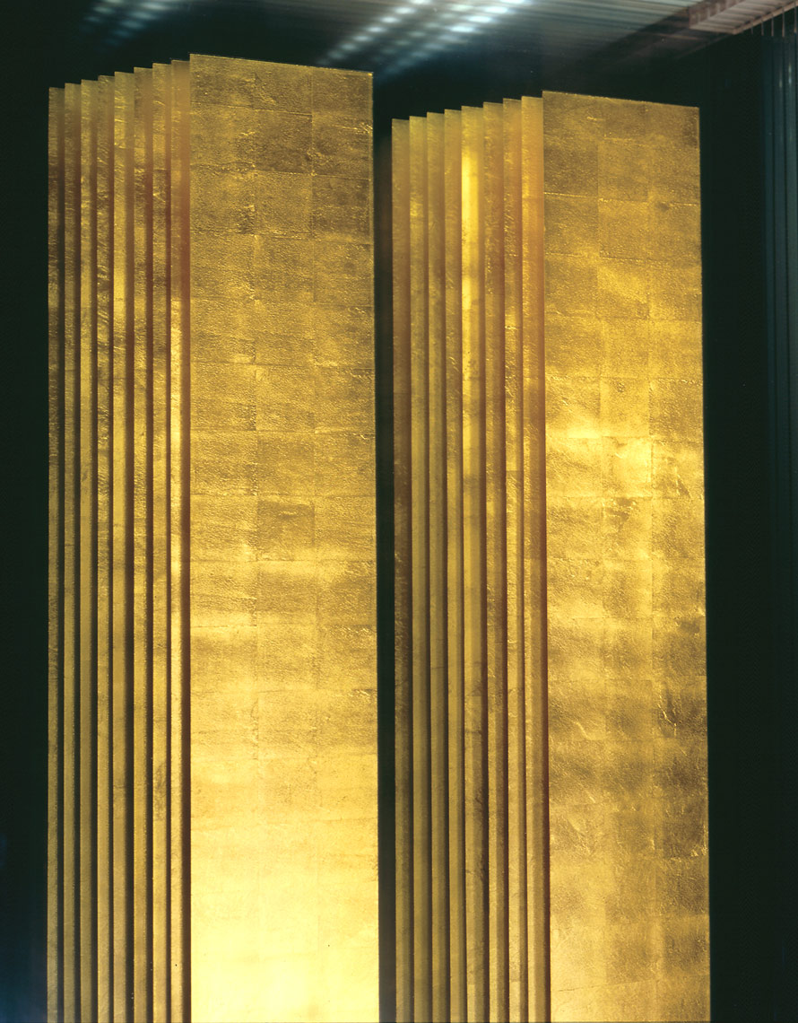 9-11 Memorial Detail in glass and gold leaf by Peter Diepenbrock
