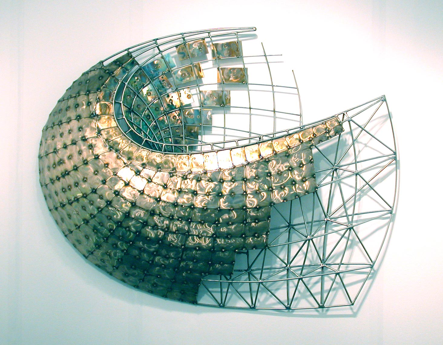 Cerebral-Vortex a bronze and stainless steel wall sculpture by Peter Diepenbrock