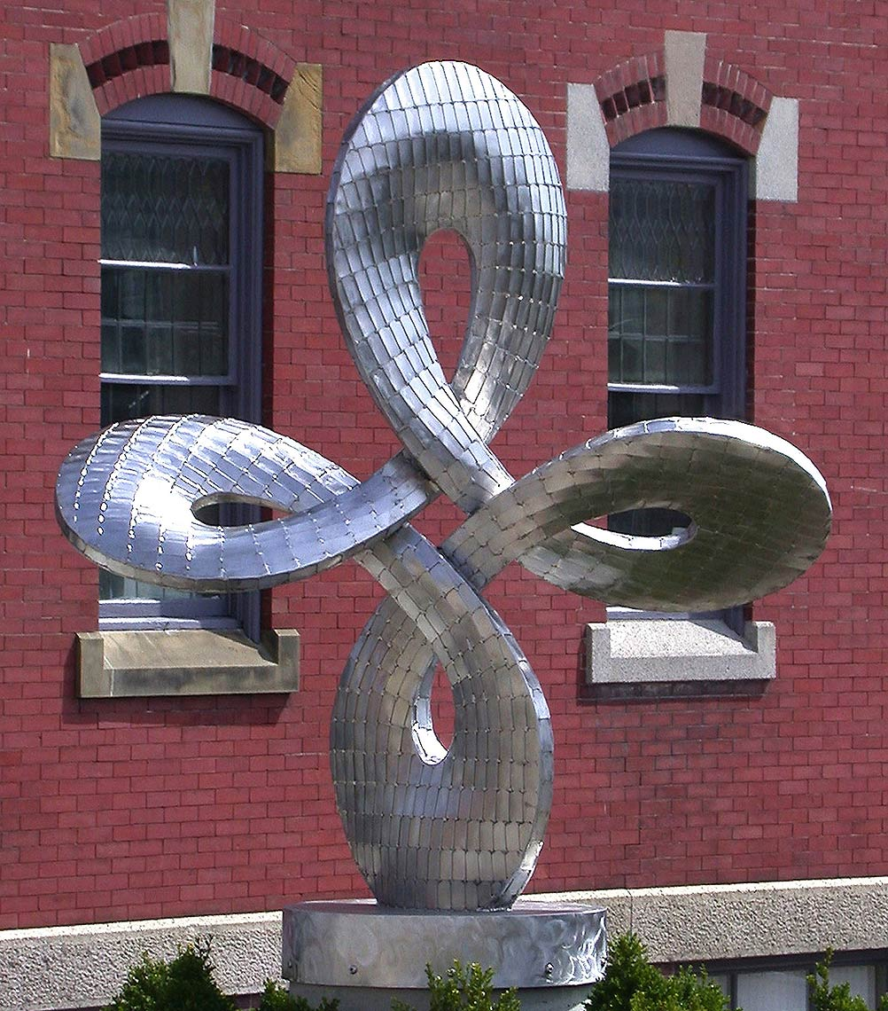 Infinity III a stainless steel sculpture for East Greenwich Rhode Island