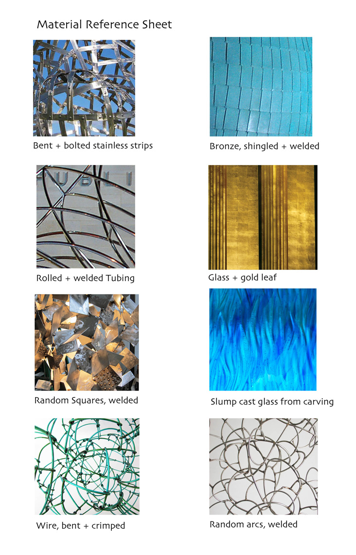 Material-ref-sheet for special projects by  sculptor Peter Diepenbrock Rhode Island