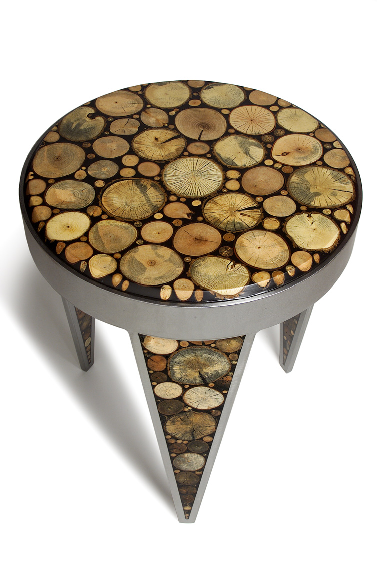 Mosaic-End-Table in wood and steel by Peter Diepenbrock photo by Kimberly Holcombe