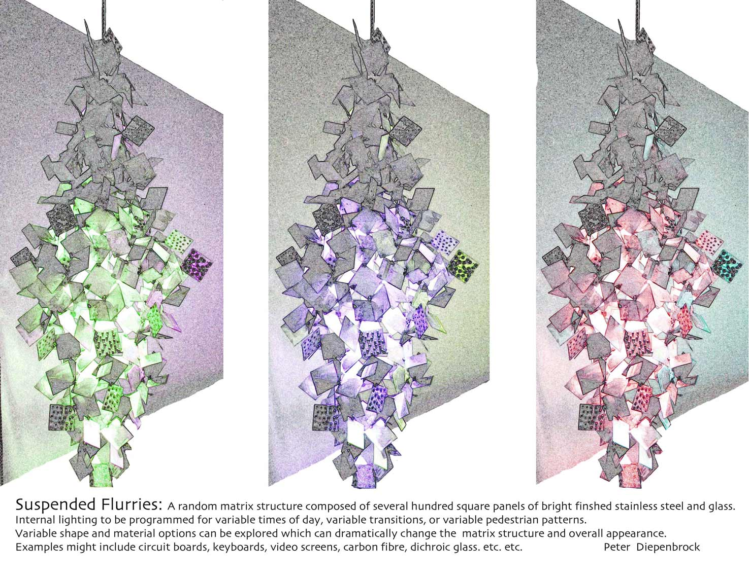 Multi-color-flurries studies for suspended sculptural lighting project by Peter Diepenbrock