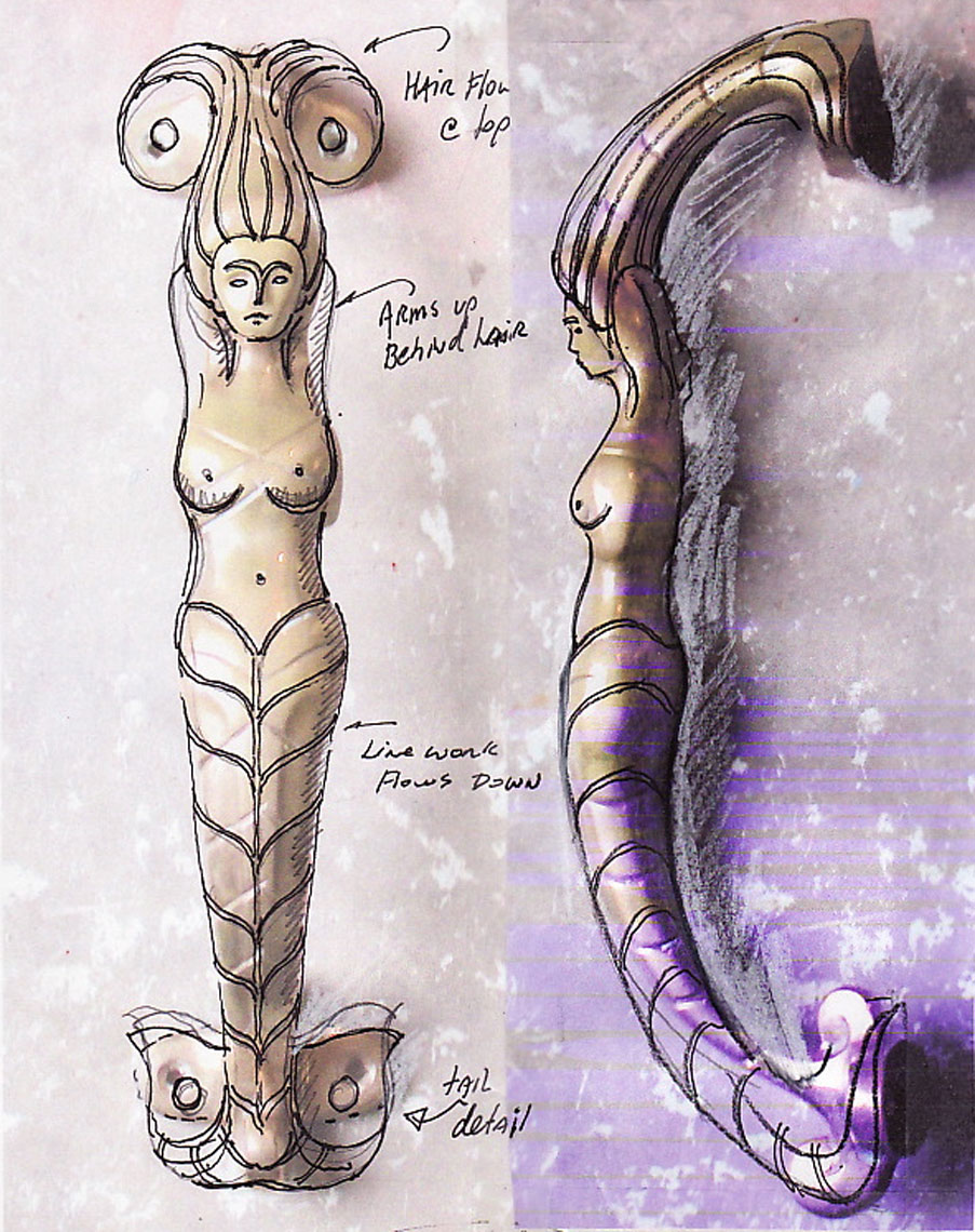 New mermaid Handles sketch study by Peter Diepenbrock