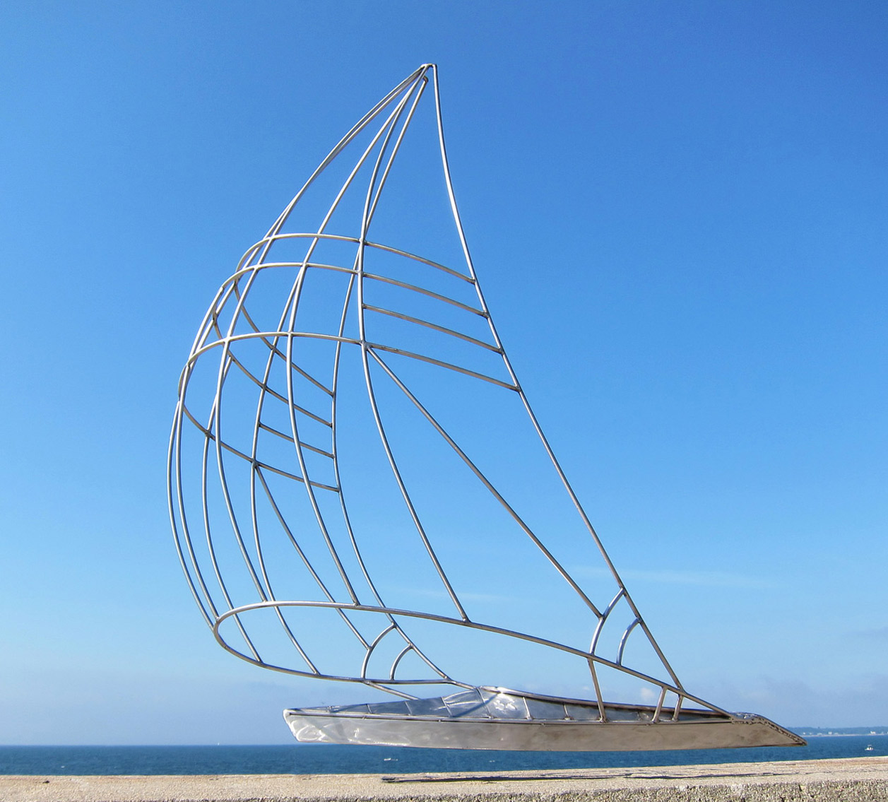 Sail vessel I a sail boat sculpture by Peter Diepenbrock