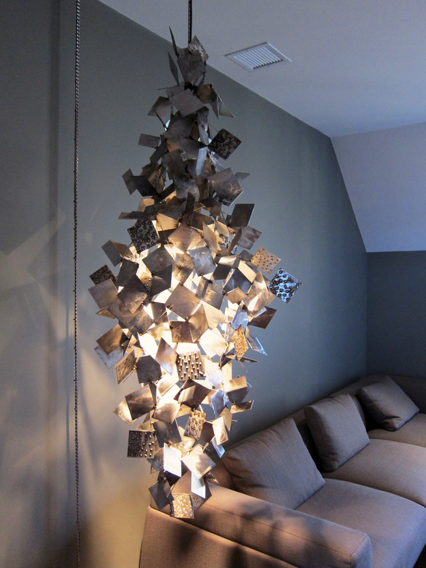 Sculptural Lighting by Peter Diepenbrock in metal for a private residence