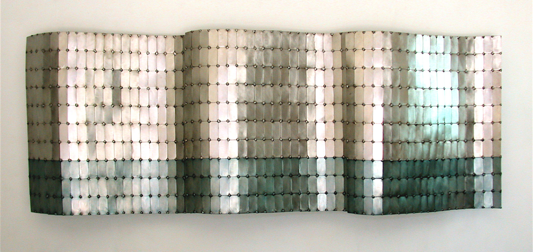 Three-Panel-Undulation sculptural wall piece by Peter Diepenbrock