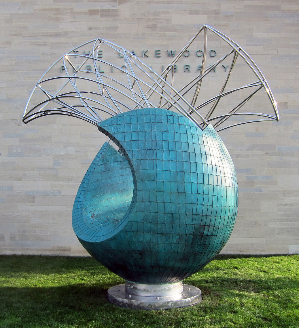 Transversion sculpture by Peter Diepenbrock for The Lakewood Public Library